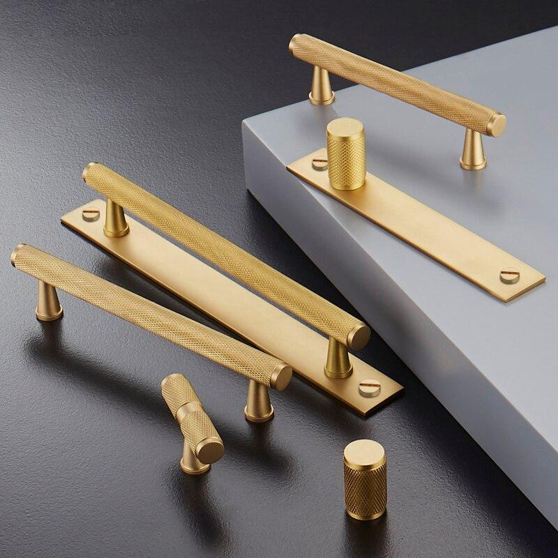 Ouro Serrilhado/Texturizado moderno do armário de cozinha puxadores e alças de Gaveta Puxa Quarto Puxadores de Bronze T Bar Ferragem Do Armário