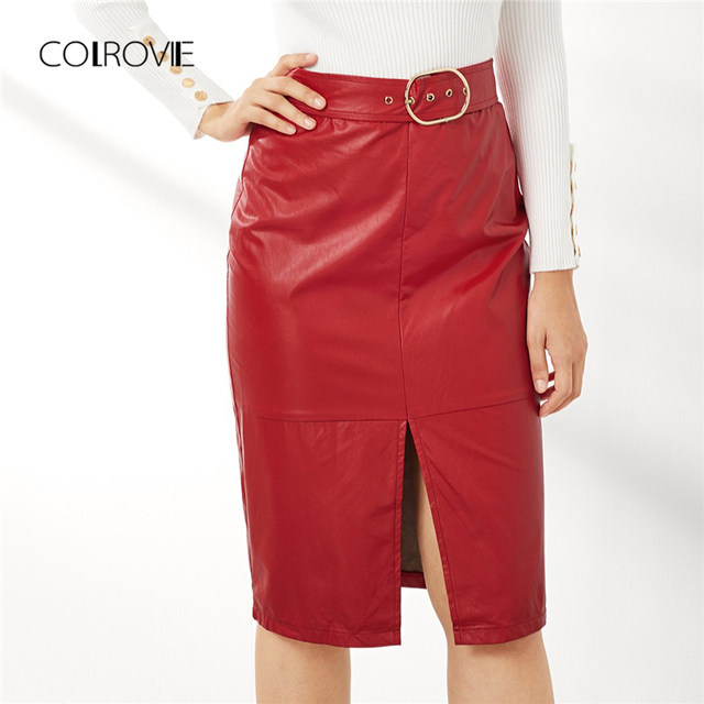 86d0121590 COLROVIE Split Belted Office Solid Red Leather Skirt Women 2018 Autumn  Elegant Sexy Mini Skirts Femme