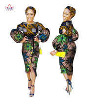 Autumn African Dresses for Women Long Sleeve Dress O-Neck Bazin Rich Women African Print Clothing with Free Headwear BRW WY2360