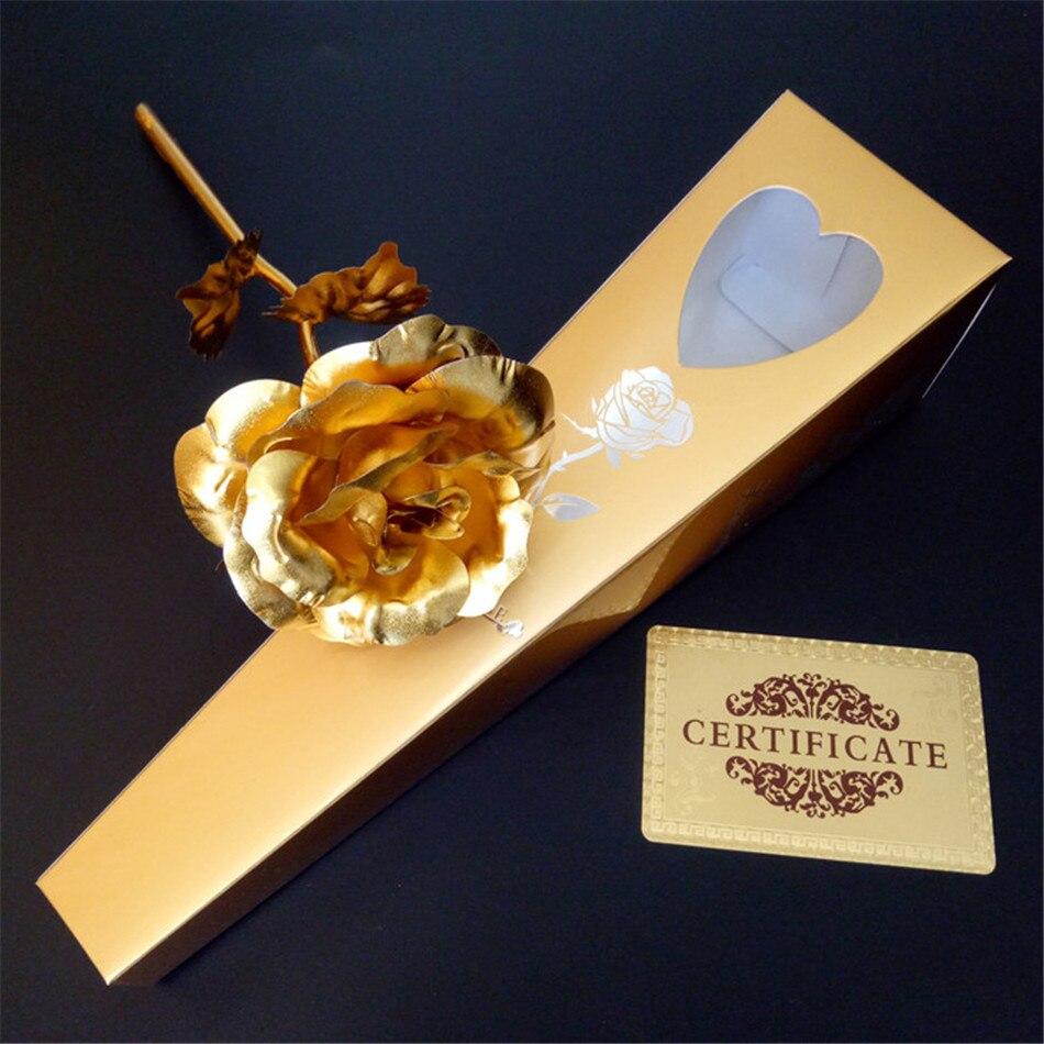 50 pz/lotto 24 k Lamina D'oro Placcato Rose Wedding Golden Rose Gold Immerso 24 k Oro Rosa fiore artificiale all'ingrosso personalizzato