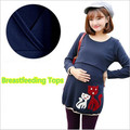 New 2015 autumn Long-sleeved Nursing Top Clothes Cute little fox Breastfeeding Tops Clothing for Feeding Maternity T shirt