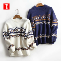 TMODA Autumn Casual Knitted Argyle Sweater Women Loose Long Vintage Pullovers Knitwear Korean Jumpers Pull Femme Hiver 2019