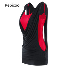 Neck Faux Twinset Panel Cut Out Sleeveless Tank Top Womens Summer Clothing 2018 Fashion Sexy Top Female Tanktop