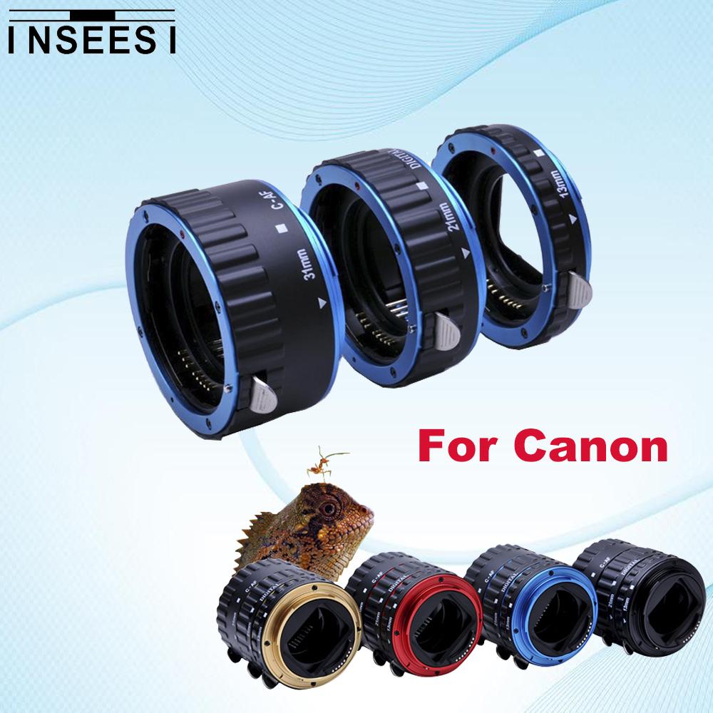 Prix pour 5 couleur tube anneau pour canon eos 550d 1100d 1000d 5d3 650d 600D DSLR Caméra Mont AF Autofocus Macro Extension EF-S Objectif Adaptateur