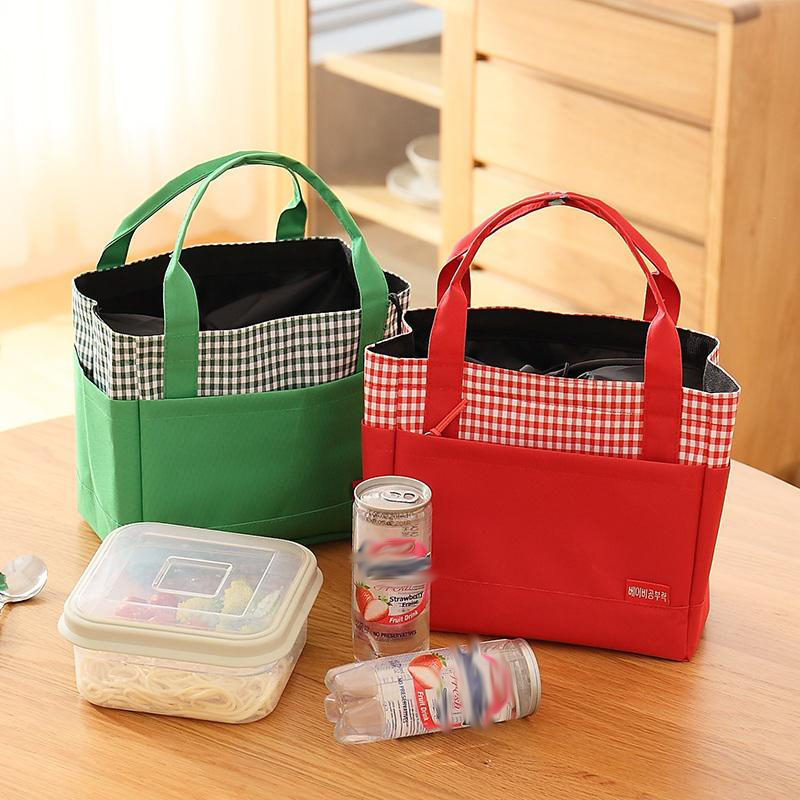 QZH Canvas Stripe Thermal Lunch Bags For Women Men Food Lunch Kids School Picnic Cooler Bag insulated lunch bag Ladies Handbags