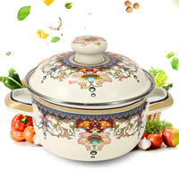 18CM Chinese style decorative pattern two ear enamel pot household thickened soup pot stew pot gas electromagnetic oven universa