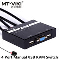 4 Port VGA USB Manual KVM Switch with Remote Extension Switcher Key Press Panel Built-in Cables 1 K&M Combo Operates 4 Computers