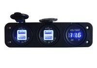 Triple enchufes coche barco motocicleta azul LED Digital voltaje indicador de batería voltímetro + dos doble USB Power Charger socket