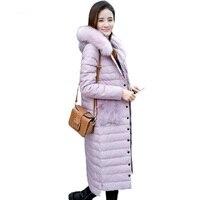 2018 зимние Для женщин 90% белый длинный хлопок куртка Тонкий милые плюшевые карман с капюшоном Подпушка куртка Зимние теплые розовые длинные ...