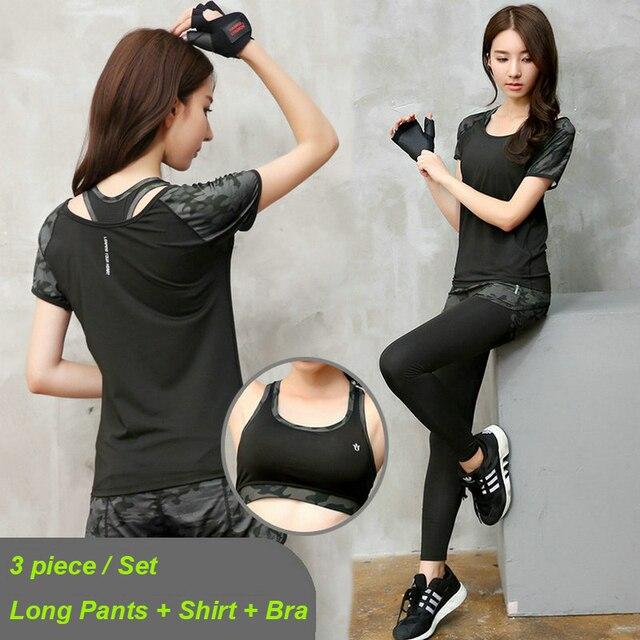 05b216982 3 Peça Define Yoga 2017 Mulheres Treinamento de Corrida Ternos Roupa de  Treino Crossfit Ginásio Roupas