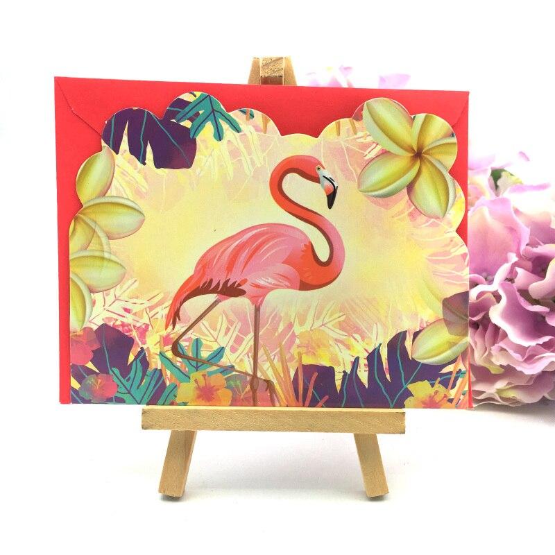 Flamingo Design 12pcs Cards+12pcs Envelopes Flamingo Invitation Card for kids happy Birthday Flamingo Party Supply