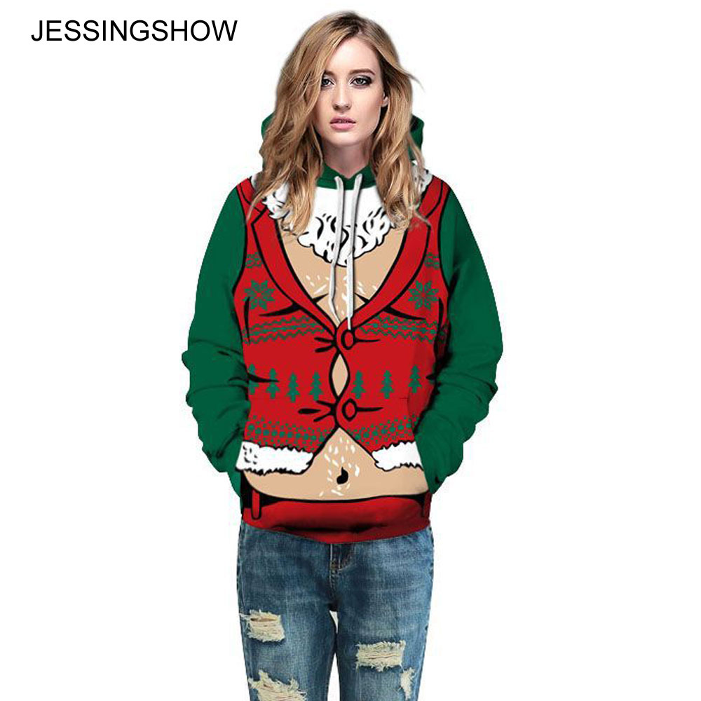 JESSINGSHOW 2017 New False Naughty 3D Print Christmas Theme Pullover Hoodies Sweatshirts Women/Men Causal Long Sleeve Tracksuit