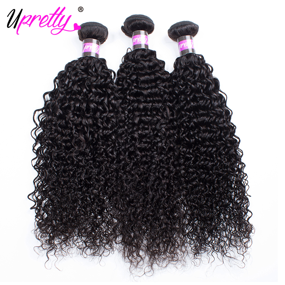 Upretty Hair Cheap Brazilian Curly Wave Hair 3 Bundles Deals Remy Human Hair Extensions 10-24 inch Curly Weaves Bundles for Sale