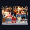 G005 Miniatura casa de boneca de madeira diy Brinquedo casa de bonecas em miniatura de Móveis incluem móveis, Luz, tampa protetora contra poeira