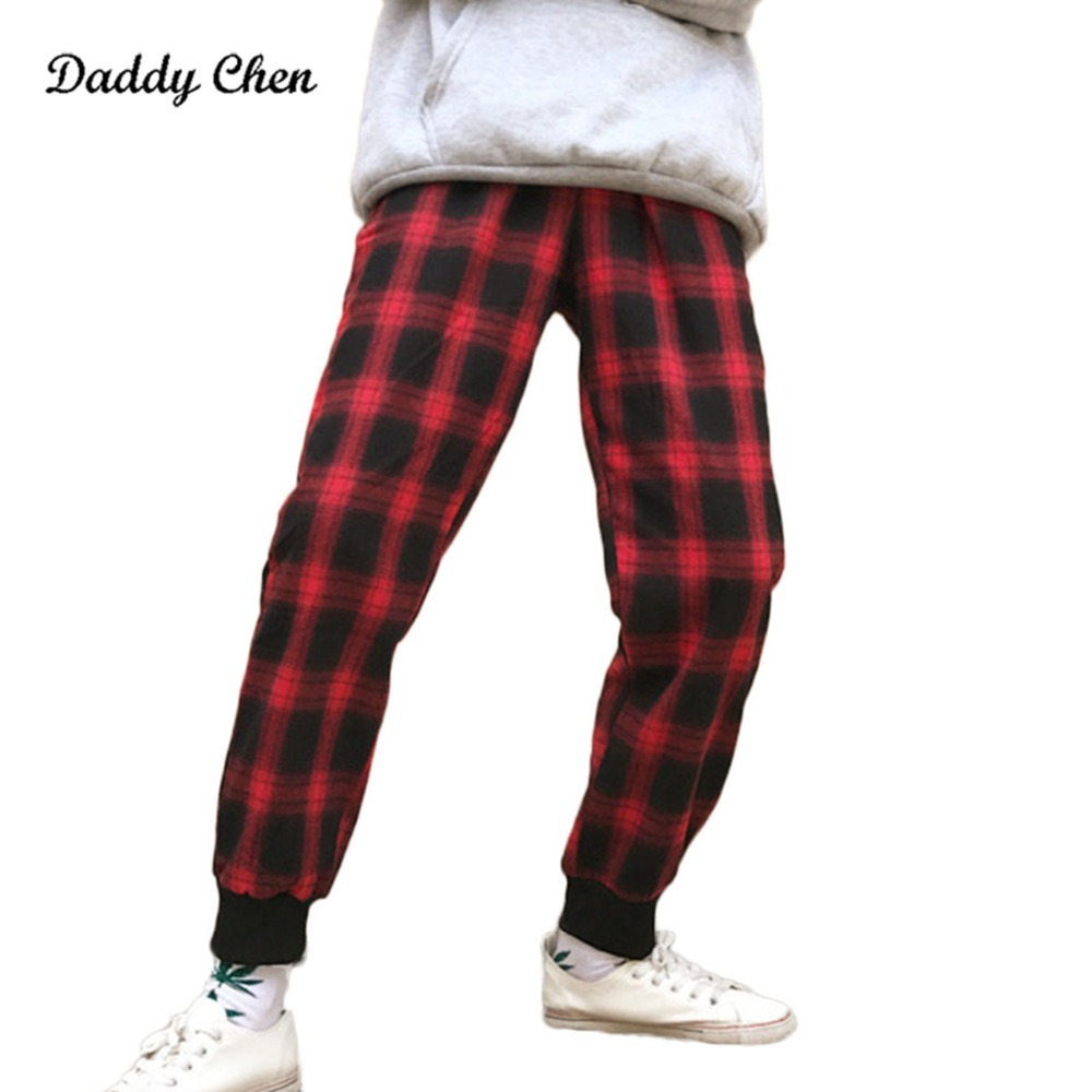 2018 New Brand Winter Plaid sweatpants for men hip hop Funny pants jogger trousers male Red Black track Harem sweat Pencil Pants