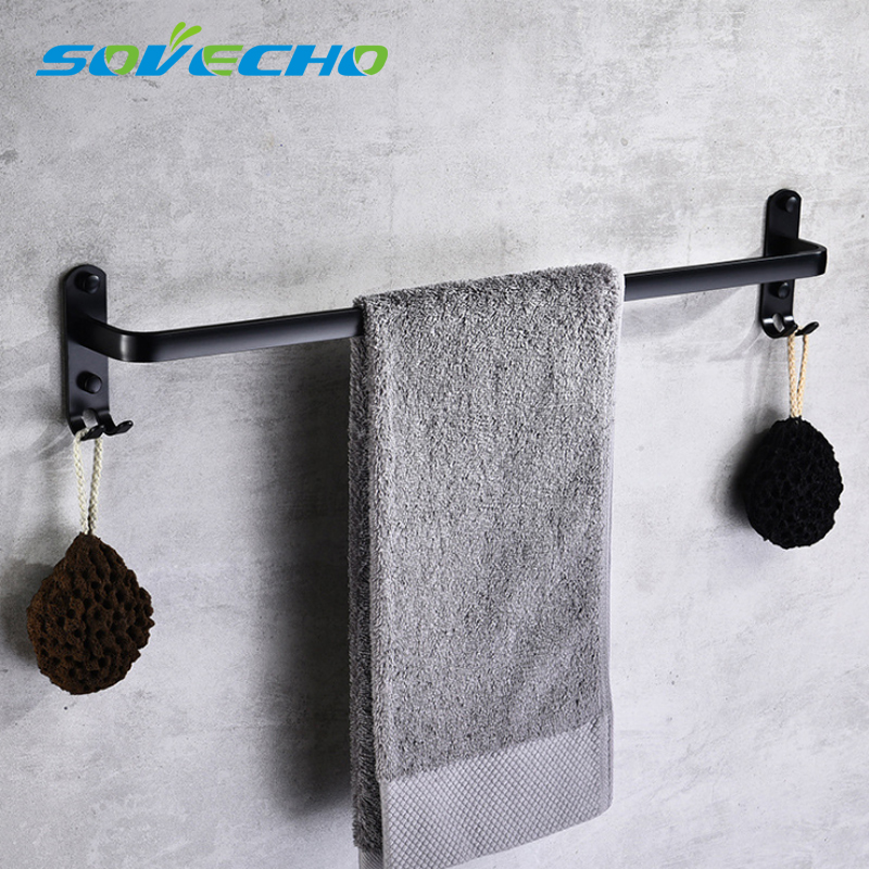 Black Space Aluminum Towel Bar with Double Robe Hooks Wall Mounted Bathroom Accessories Towel Rack Towel Shelf With Hooks W0859Black Space Aluminum Towel Bar with Double Robe Hooks Wall Mounted Bathroom Accessories Towel Rack Towel Shelf With Hooks W0859