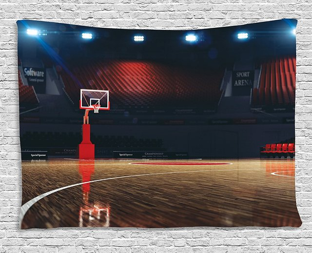 Us 16 69 15 Off Sports Decor Picture Of Empty Basketball Court Sport Arena With Spot Lights And Wood Floor Bedroom Dorm Tapestry Brown In Tapestry
