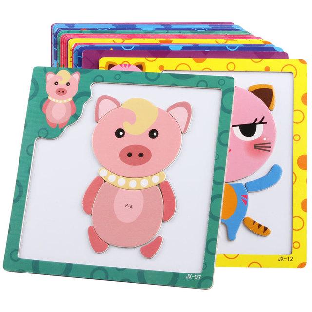Cartoon Wooden Magnetic Jigsaw Puzzles Educational Developmental Toy For Kids Children 3D Magnetic Puzzle Wooden Educational Toy