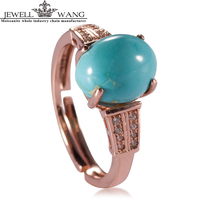 JEWELLWANG Luxury Women Rings Natural Turquoise Stone Ring 925 Solid Sterling Silver Gem Jewelry Best Gift