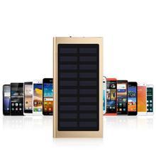 High Capacity Solar Power Bank 20000mAh Dual USB Ports Portable Ultra-thin Generic External Battery Cell Phone MP3/4 Charger