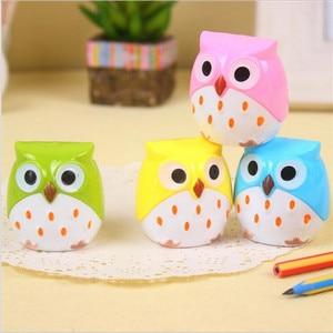 Image 2 - 24pcs/lot Cute Owl design Double orifice Mini pencil sharpener 4 colors pencil sharpener Wholesale