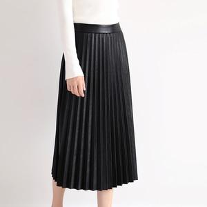 Image 3 - RYS7360 kadınlar 2020 zarif moda tam uzunluk hakiki deri 75cm uzun pilili etek bayan Nappa sokak siyah Jupe faldas Mujer