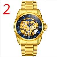 Watch men's ultra thin automatic mechanical watch steel business gold watch waterproof