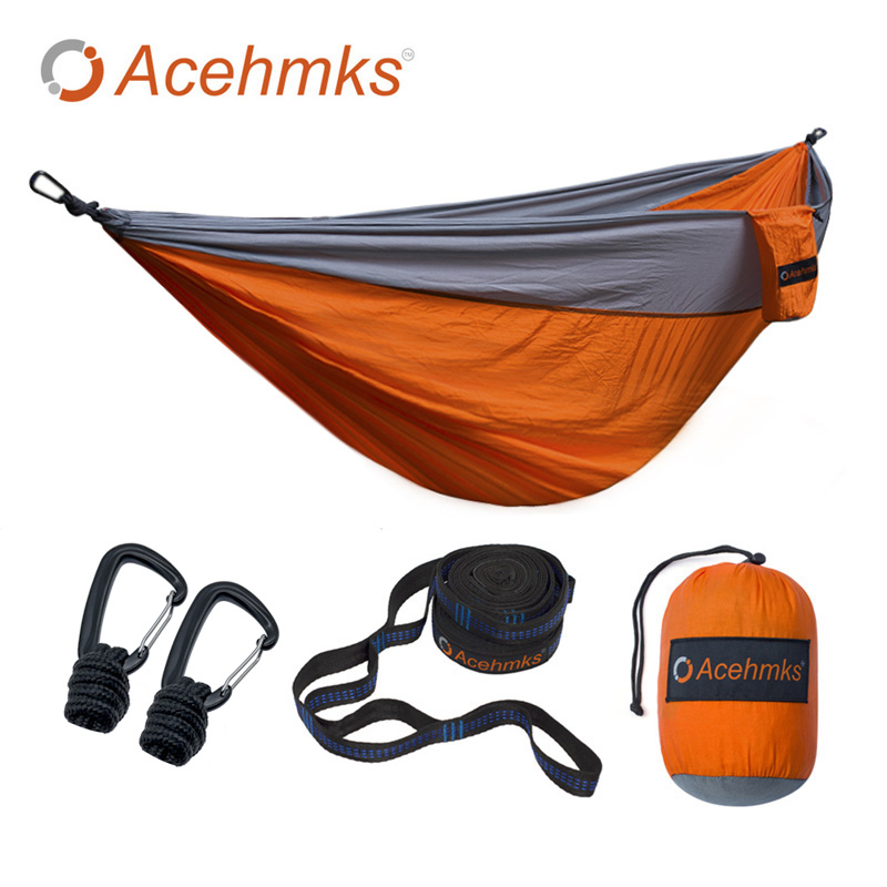 Acehmks Aluminum Alloy Snap Hammock Ultralight Camping Swing With 2 Tree Straps Double XXXL Size 300CM*200CM Free Shiping high quality outdoor 2 person camping tent double layer aluminum rod ultralight tent with snow skirt oneroad windsnow 2 plus