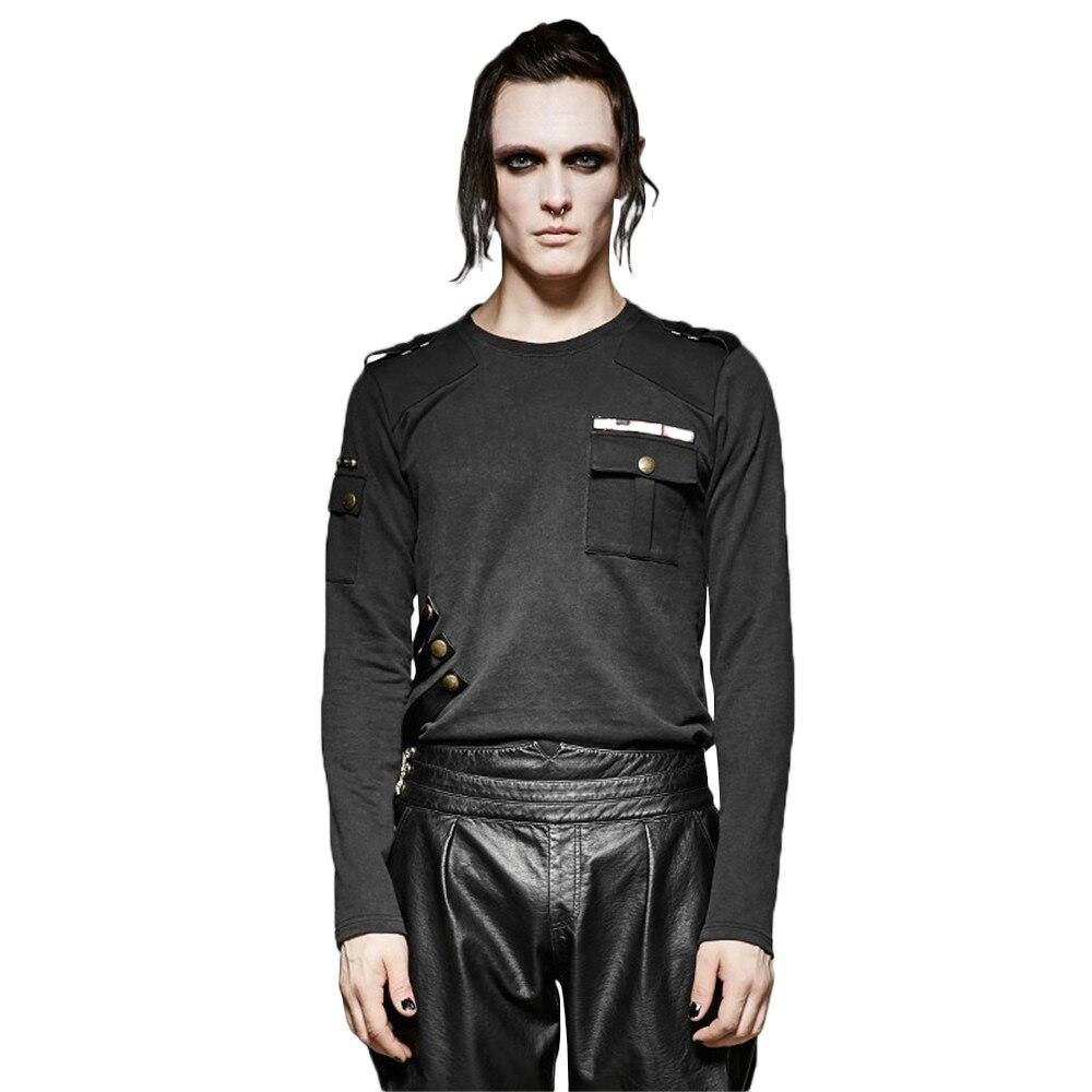 Punk hommes extensible tricoté t-shirts broderie rétro uniformes Vintage T-shirt à manches longues hauts décontractés