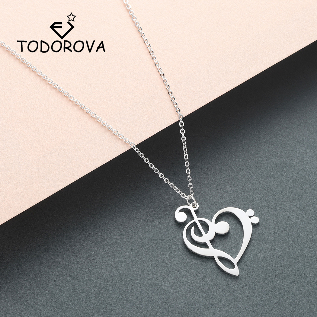 Todorova Music Note Heart of Treble and Bass Clef Necklace Women Infinity Love Charm Pendant Necklace Stainless Steel Jewelry image
