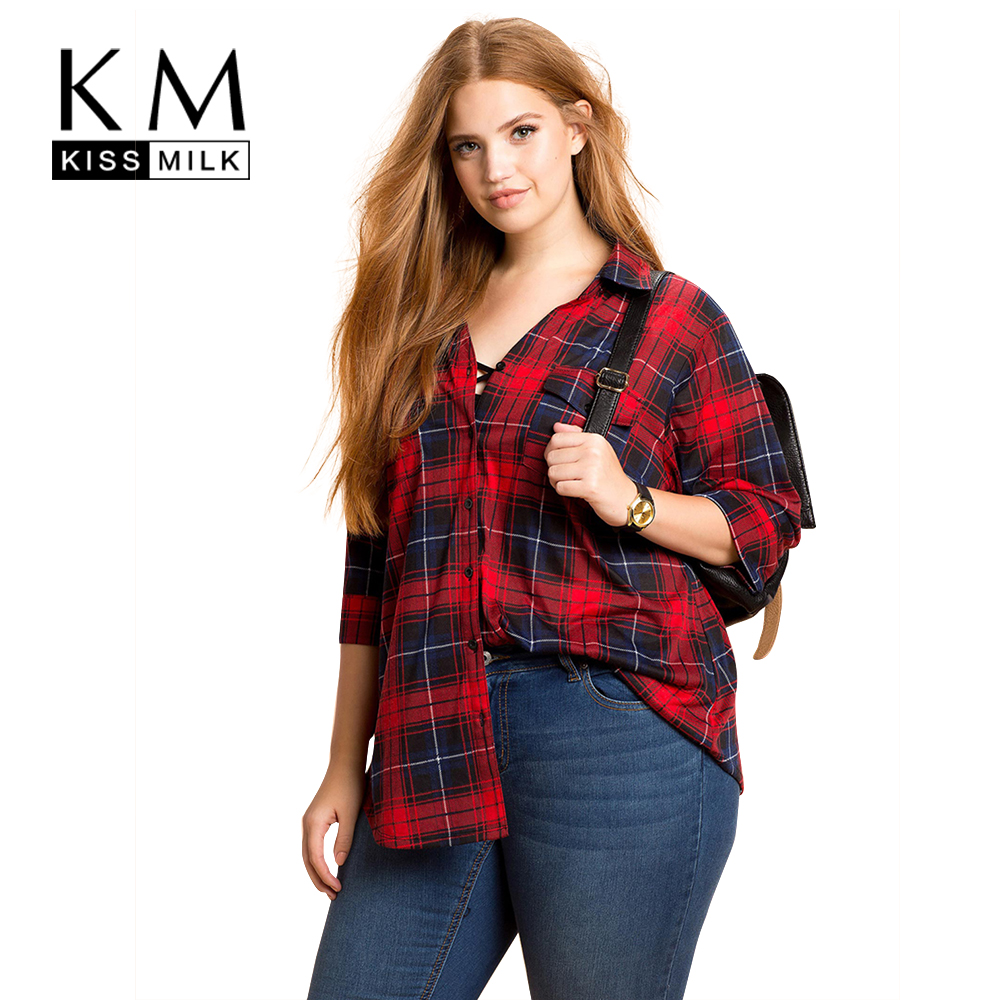 abeb3aa405e Kissmilk Plus Size New Fashion Women Clothing Basic Streetwear Preppy Style  Plaid Tops Loose Big Size Blouse 3XL 4XL 5XL 6XL-in Blouses   Shirts from  ...