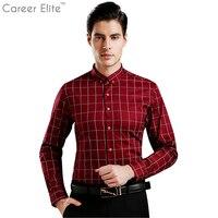 2018 عارضة 5xl زائد حجم قمصان الرجال قميص القطن منقوشة بلوزة طويلة الأكمام أزياء ماركة الملابس camisa الغمد الاجتماعي