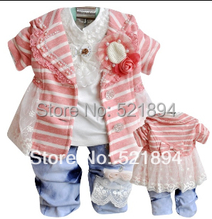 clearance new autumn girls striped clothing set 3pcs baby girl vestidos suit girls dress suit children spring autumn clothes set ...