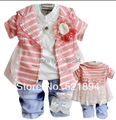 clearance new autumn girls striped clothing set 3pcs baby girl vestidos suit girls dress suit children spring autumn clothes set
