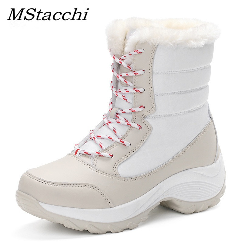 Mstacchi 2018 femmes bottes de neige hiver femmes garder au chaud chaussures femme à lacets mi-mollet plate-forme bottes femme chaussures grande taille 35-42
