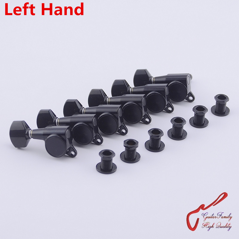 Original Genuine 6 In-line GOTOH SG381-07 Left Hand Guitar Machine Heads Tuners ( Black ) MADE IN JAPAN wilkinson deluxe wj55s 6 in line machine heads tuners black new guitar parts