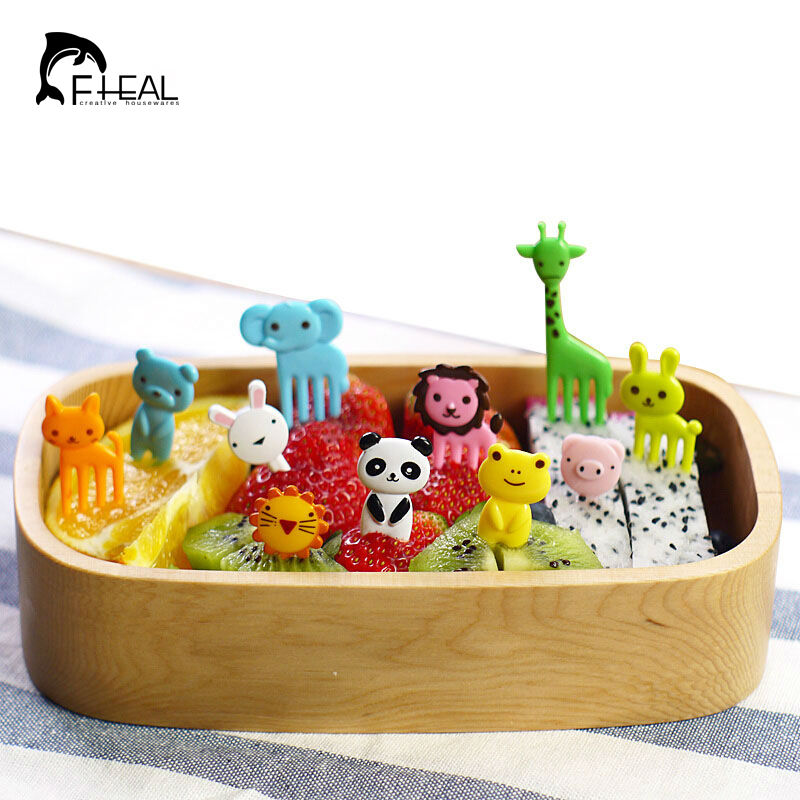 FHEAL New 10pc dzīvnieku saimniecības mini karikatūra augļu dakšas zīme plastmasas augļu zobu bakstāmais Bento pusdienas bērniem Dekoratīva virtuves rīks