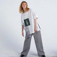 IRINAY096 2019 SPRING SUMMER New Collection original design plaid printed oversize short sleeves t shirts women