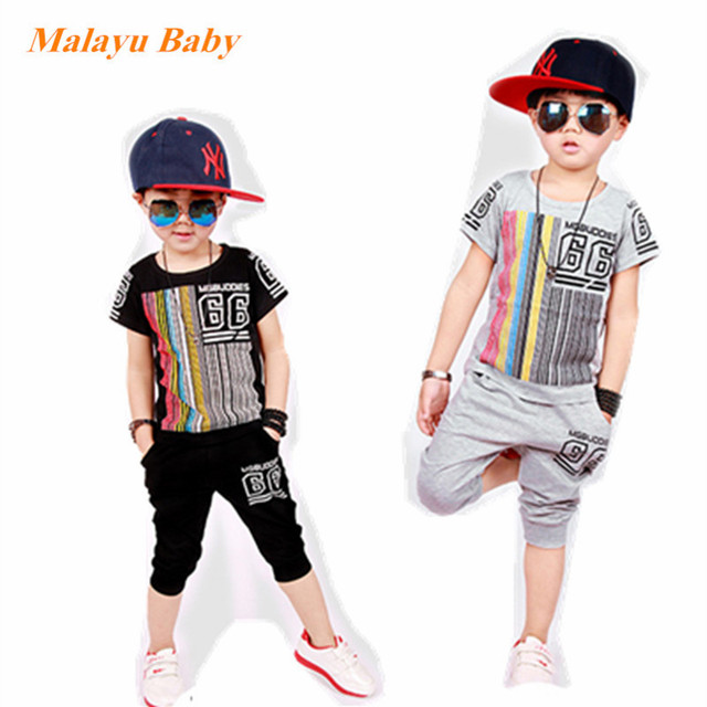 Malayu Baby brand 2017 summer new boy children's sports suit, striped printed letters short-sleeved T-shirt and pants two sets