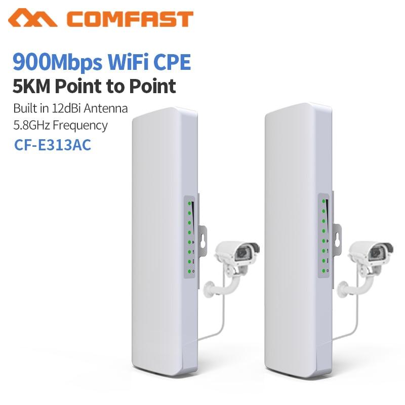 10 pièces 5 KM Comfast 900 Mbps extérieur sans fil pont CPE routeur 5.8 Ghz wifi amplificateur de Signal 12dbi antenne Booster Extender CPE