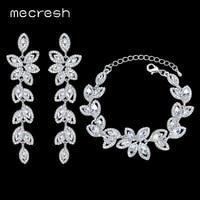 Mecresh Noble Biżuteria Akcesoria Ślubne Dla Nowożeńców Kryształ Kolor Srebrny SL046 + EH282 Jewelry Sets Liści Kolczyki Bransoletka dla Kobiet