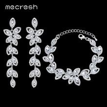 Mecresh благородный, свадебные украшения Свадебные аксессуары серебряное Цвет Наборы ювелирных украшений листьев Серьги браслет для Для женщин SL046 + EH282