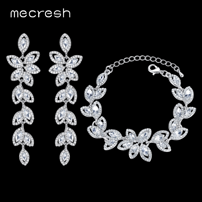 Mecresh Noble Bridal Jewelry Wedding Accessories Crystal Silver Color Jewelry Sets Leaf Earrings Bracelet for Women SL046+EH282