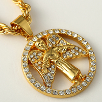 18k Gold Plated Iced Out Hip Hop Rope Chain Necklace High Quality Guardian Angle Pendant For