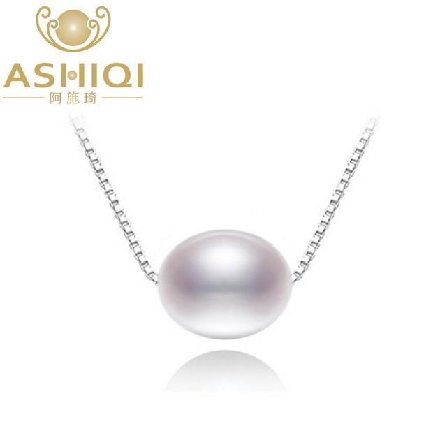 ASHIQI Природный пресной воды жемчужное ожерелье с 925 стерлингового серебра кулон ожерелье для женщин настоящее Природный жемчуг ювелирные изделия Новый