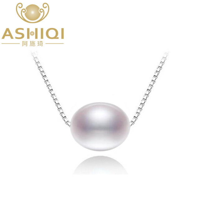 ASHIQI Real Natural freshwater pearl necklace with 925 sterling silver pendant necklace jewelry gift for new year 2017