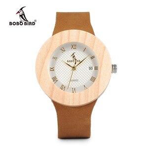 Image 2 - BOBO kuş WC06 Vintage yuvarlak çam ahşap saatler bayanlar lüks marka tasarım kuvars saatler takvim ile hediye kutuları OEM