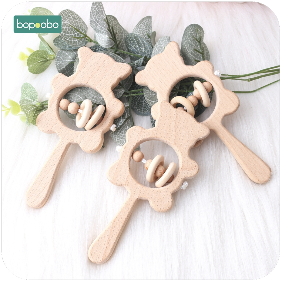 Bopoobo 1PC Baby Beech Wooden Rattle Teethers Can Chew Wood Montessori Toys Best Baby Shower Toy DIY Accessories Teether