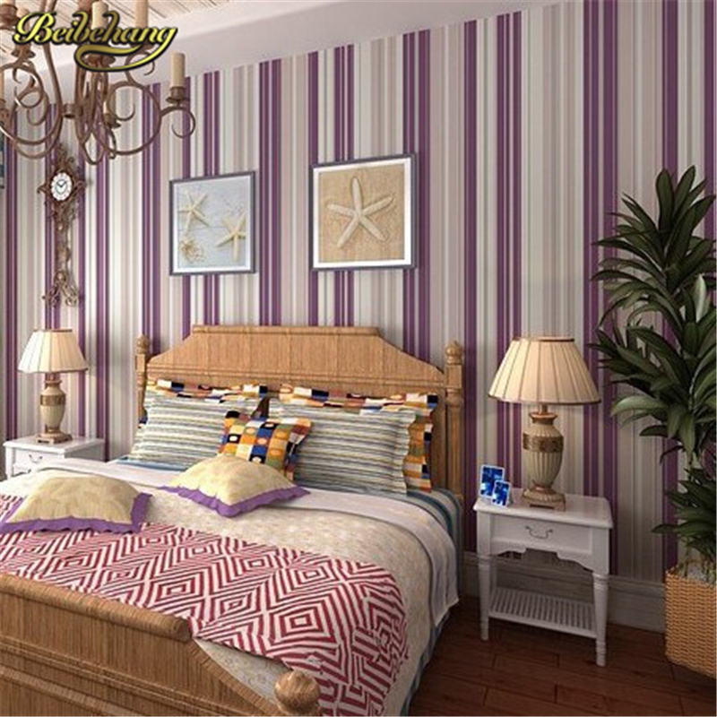 Beibehang bedroom wallpaper purple stripe wallpaper wall for Wall papers for rooms