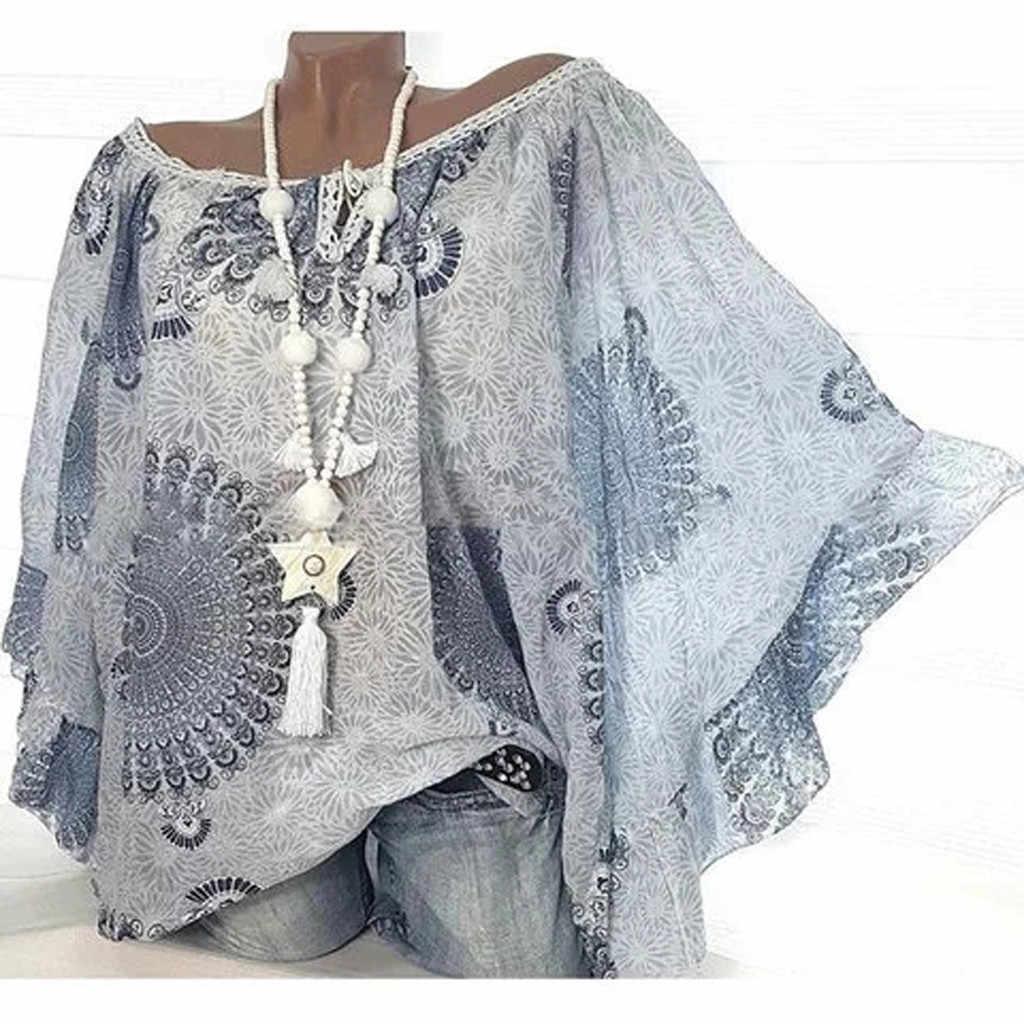 5XL размера плюс, блузка, женская рубашка, Блузы туники, повседневная, с принтом бохо, с длинным рукавом летучая мышь, свободные, с открытыми плечами, Женские топы и блузки *